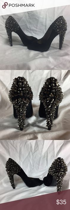 "Sam Edelman Spiky Rhinestone Black Suede Heels Sam Edelman ""Lorissa"" spiky rhinestone peep toe heels. Heel is about 4"". Size 6.5. Black suede.   Rhinestones missing in same spot on both heels. One rhinestone missing on outside of back right ankle. Same rhinestone is loose on left shoe. Otherwise in good used condition.   No trades.  Thanks for looking and happy Poshing!!! Sam Edelman Shoes Heels"