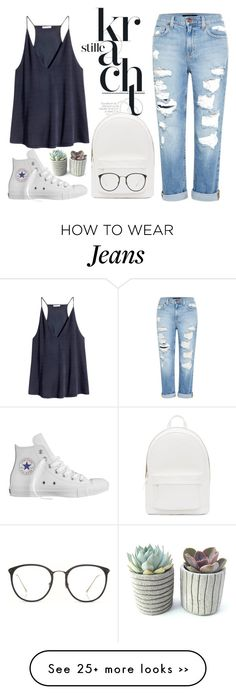"""""""Jeans and White"""" by rezkynuras on Polyvore featuring Genetic Denim, H&M, PB 0110, Converse, Linda Farrow, white and jeans"""