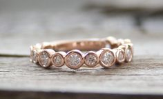 Wedding Band: Bezel Bubble 3/4 Eternity Diamond Ring in 14K Rose by Studio1040, $1220.00