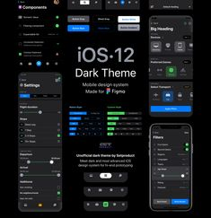 Mobile design system for hi-end iOS apps prototyping in Figma. Unofficial dark theme by Setproduct.   Meet dark and most advanced iOS design system for Figma. Your ultimate design kit for creating native, custom or wireframing layouts made of 100% dark constrained components aimed at endless scalability.