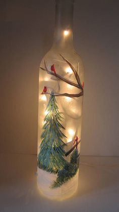 Winter Tree with Cardinals Lighted Frosted Wine Bottle Diy Wine Bottle Crafts diy christmas wine bottle crafts Wine Bottle Images, Wine Bottle Art, Painted Wine Bottles, Lighted Wine Bottles, Bottle Lights, Bottle Bottle, Decorating Wine Bottles, Glass Bottles, Perfume Bottles