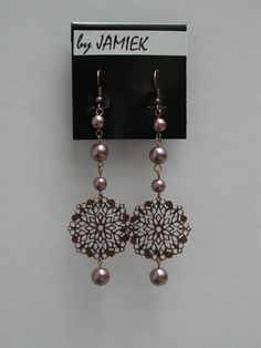 Earrings Copper Pearl Beads Chain with Floret Medallion Dangles