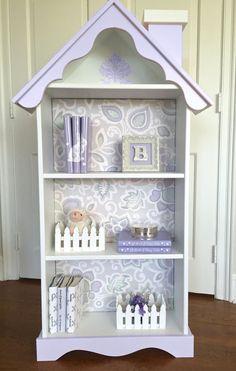 Children's doll house bookcase, Custom children's dollhouse bookcase, Nursery bookcase, Girl's bookcase, Lavender bookshelf, White Bookcase