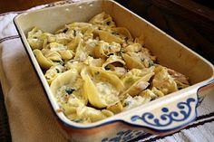 Alfredo Stuffed Shells with Chicken & Artichokes
