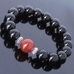 Handmade-Bracelet-Black-Onyx-Red-Agate-925-Sterling-Silver-Spacer-MEN-WOMEN