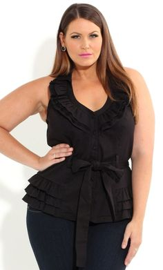 Plus Size Miss Ruffle Halter Top - City Chic - City Chic