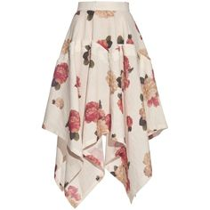 A.W.A.K.E. Flora-print handkerchief-hem skirt ($190) ❤ liked on Polyvore featuring skirts, bottoms, white, multi color skirt, multi colored skirt, floral pattern skirt, flower print skirt and white fold over skirt