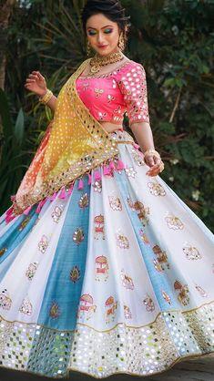 36 indian lehenga choli designs for pre wedding functions 5 Garba Dress, Navratri Dress, Lehnga Dress, Saree Blouse, Indian Wedding Outfits, Bridal Outfits, Indian Outfits, Indian Clothes, Designer Anarkali Dresses