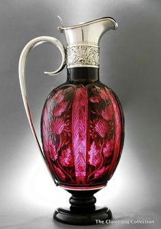 Gorham silver and ruby red claret jug , 1888.