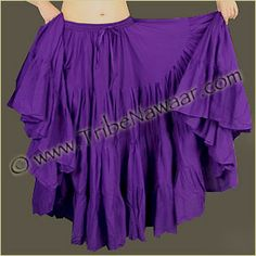 Tribe Nawaar's Purple 15 yard economy cupcake skirt; affordable ATS, tribal bellydance, flamenco, gypsy and bohemian skirt. This fluffy skirt is also perfect for a Renaissance Fesitval Costume!