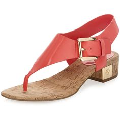 Michael Michael Kors In Coral Low Heel Sandals, Ankle Strap Flats, Shoes Sandals, Ankle Straps, Golden Sandals, Slippers For Girls, Shoes World, Block Heel Boots, Kinds Of Shoes