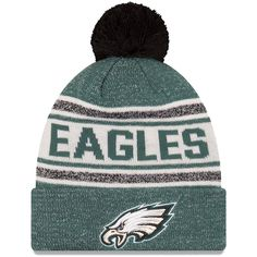 d2f0cafe968f6 Philadelphia Eagles New Era Youth Toasty Cover Pom Cuffed Knit Hat -  Midnight Green