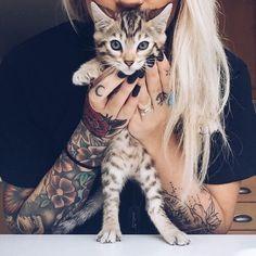 animal, cat, girl, tatoos, tumblr