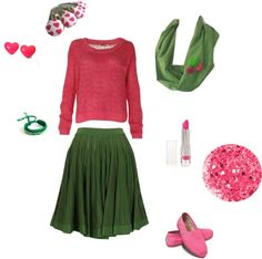 """Pink and Green Spring"" by rose-meister on Polyvore"