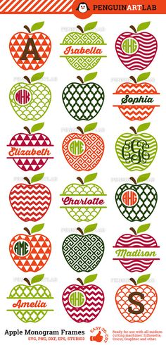 Apple Monogram Frames and Split SVG Cutting Files by PenguinArtLab