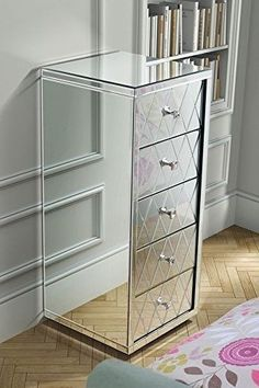 Mirrored Chest Of Drawers Glass Bed Room Furniture Contemporary Storage Modern