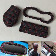 3 Piece Set PU Leather Car Gear Shift Knob Handbrake Rear View Mirror Case Cover
