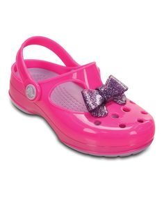 Look at this Crocs Neon Magenta & Purple Carlie Glitter Bow Mary Jane on today! Magenta, Purple, Nina Shoes, Crocs, Mary Janes, Neon, Pairs, Sandals, Glitter