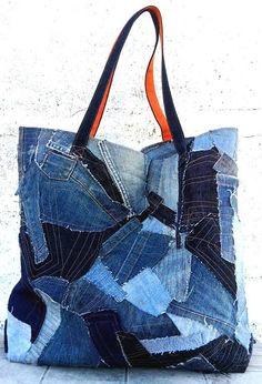 Denim Patchwork Bag / Jeans Patchwork Bag / Used Denim Handbag / Vintage Jeans … Denim Bags From Jeans, Denim Tote Bags, Denim Handbags, Patchwork Denim, Recycled Denim, Recycled Leather, Denim Crafts, Vintage Jeans, Vintage Handbags