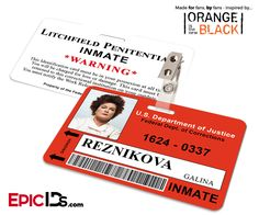 Orange is the New Black Inspired Litchfield Penitentiary Inmate Wearable ID Badge - Reznikova, Galina (Red)