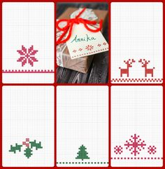 Cross Stitch Gift Tag Tutorial with Free Printable Patterns | Tikkido.com