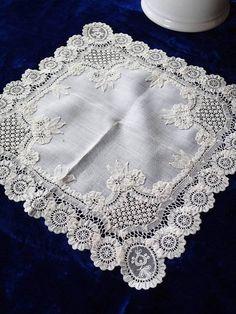 Exquisite! Antique Princess Lace Bridal Handkerchief Wedding Heirloom #Handmade #Wedding