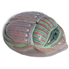 Colourful painted scarab by Taxile Doat, c. 1923