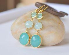 Long Jewel Dangle Earrings in Shades of Aqua, Light Mint and Turquoise.  Mint Dangle Earrings.  Etsy.com