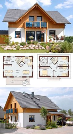 Prefabricated house in country house style with gable roof architecture, wood plaster facade & gables . - Prefabricated house in country house style with gable roof architecture, wood plaster facade & gabl - Modern House Plans, Small House Plans, House Floor Plans, Modern House Design, French Country House Plans, Country Style Homes, Country Houses, Gable Roof, Gable House