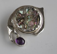 Abalone Brooch with Amethyst Accent on Sterling Silver by DixSterling