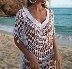 Beach dress  #beach #dress Mode Crochet, Diy Crochet And Knitting, Crochet Girls, Crochet Clothes, Crochet Collar, Crochet Blouse, Crochet Lace, Bikini Crochet, Crochet Beach Dress