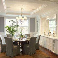 Benjamin Moore Solitude Traditional Dining Room By Arch Studio, Inc. Love  The Built Ins U0026 Trim.
