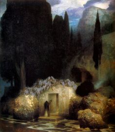 """The Tomb of Bocklin"" ~ by Ferdinand KELLER (1901)."