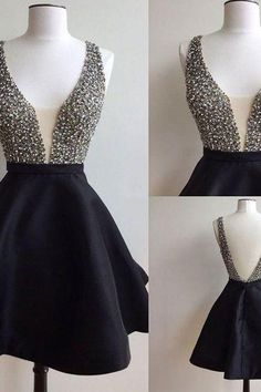Short black mismatched open back sexy freshman homecoming prom dress
