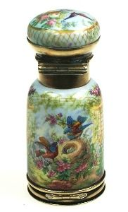 Antique silver and enamel scent flask