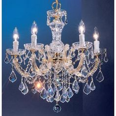 5 Light crystal chandelier with crystalique clear crystal and gold finish