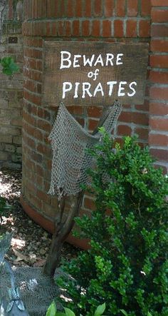 Beware of Pirates sign - pirate props for rent