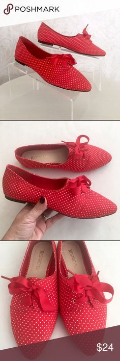 Adorable red polka dot Restricted Oxfords Absolutely charming, and lighter than air. Red and white polka dot fabric Oxfords. Pointed toe. Lace up with red grosgrain ribbon--such a feminine touch! Leather footbed, flocked rubber outsole, teeny heel. NWT; never worn and in original box. Restricted Shoes Flats & Loafers