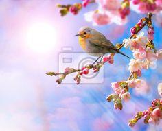 Fotobehang abstracte lente grens met roze bloesem - spring • PIXERS.nl