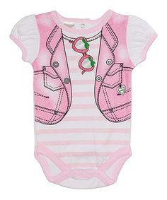 Another great find on #zulily! Pink Stripe Shades Bodysuit - Infant by Kyle & Deena #zulilyfinds