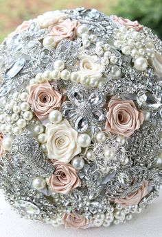 Blush Wedding Brooch Bouquet.  Think I might use blush colored rosettes as a filler for my bouquet.