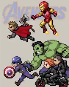 Avengers by HectNishi (re-post - HD) Marvel Dc Comics, Marvel Avengers, Marvel Funny, Marvel Memes, Avengers Cartoon, Funny Avengers, Modele Pixel Art, Die Rächer, Comic Kunst