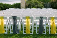 Gazebo ceremony location at Chair ties from Premiere Party Central, tied by Denesik Ayotte Denesik Ayotte sawran with Unexpected Elements. Wedding Chair Sashes, Wedding Pews, Wedding Chair Decorations, Wedding Linens, Wedding Chairs, Wedding Ceremonies, Wedding Reception Program, Chair Ties, Party Central