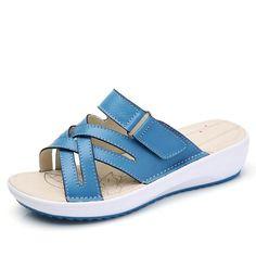 Sandals Shoes Leather Flat Sandals Low Heel Wedges Summer Women Open Toe Platform – #slippersoutfit #slipperscute #slipperscozyhouse #slippersoutfitlazydays #slippersoutfitcasual #slippersoutfitschool #slippersoutfitsummer #slipperscozy Blue Sandals, Gladiator Sandals, Sandals Outfit, Shoes Sandals, Pretty Shoes, Cute Shoes, Open Toe, Everyday Shoes, Leather Sandals Flat