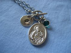 Sacred Heart Holy Spirit Personalized Initial Necklace by TheVerseWithin, $14.00