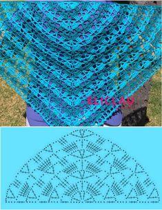 the-southern-beauty-shawl-by-elk-studio - Salvabrani Lovely pattern for crochet scarf Pretty lace shawl and pattern Poncho Crochet, Crochet Shawl Diagram, Crochet Chart, Crochet Scarves, Crochet Clothes, Crochet Lace, Crochet Stitches, Shawl Patterns, Knitting Patterns