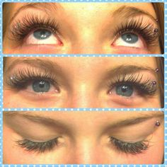 Added a lil sparkle to the end of her eyes. Blue and silver sparkle. Eyelash extensions by Morgan Tebbs McGrath.