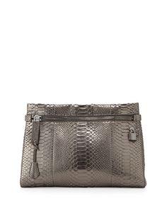 Alix Medium Python Zip & Padlock Clutch Bag, Silver by TOM FORD at Bergdorf Goodman.