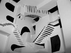 """Escher's """"Relativity"""", kirigami by Crackpot Papercraft Escher Art, Mc Escher, Escher Drawings, Optical Illusion Stairs, Optical Illusions, Diy Paper, Paper Art, Paper Crafts, Kirigami"""