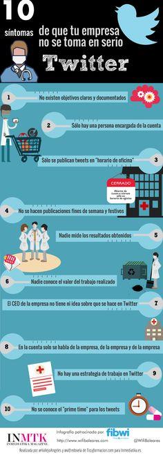 Hola: Una infografía con10 síntomas de que tu empresa no se toma en serio Twitter. Vía Inmediatika Un saludo